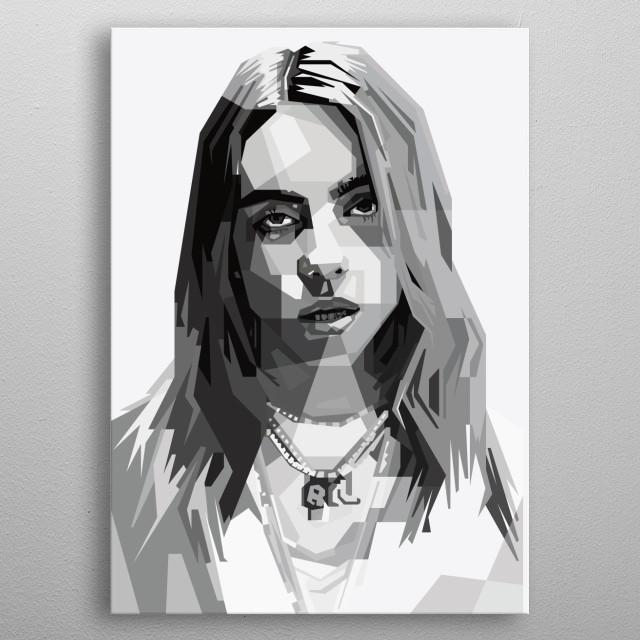 An illustration of Billie Eilish metal poster