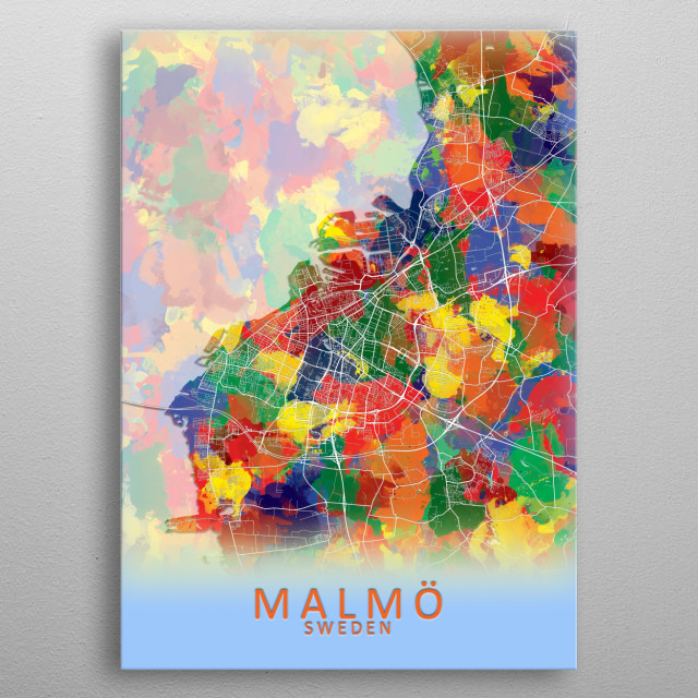 Malmo Sweden City Map metal poster