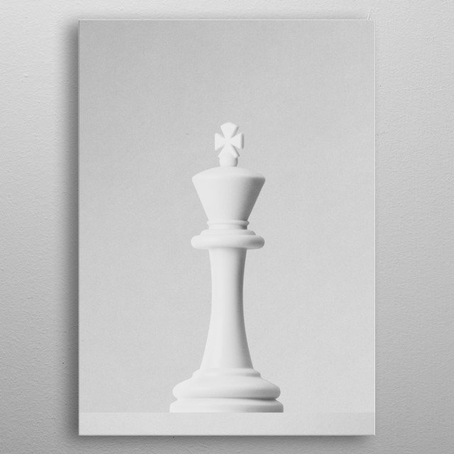 A white king a chess game in front of a white background. Part of a series of minimalist photographs of chess pieces. metal poster