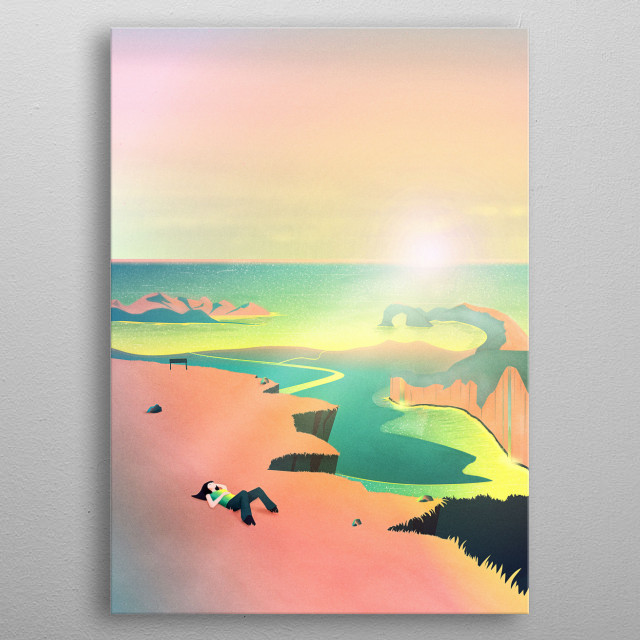 Have a relaxing day at the beach and enjoy the marvellous view over the fantastic British scenery. Dream away into this epic fantasy landsca metal poster
