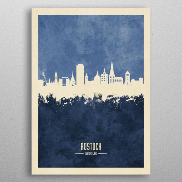 Watercolor art print of the skyline of Rostock, Germany  metal poster