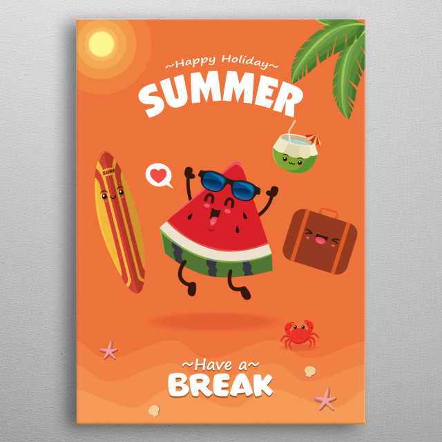 Vintage summer poster design with vector watermelon, surfboard & sunglasses, luggage characters. metal poster
