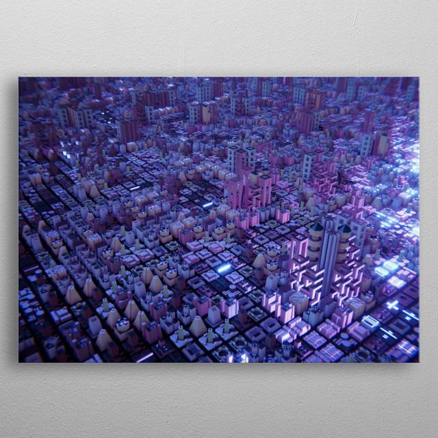 Fictional City Panorama. metal poster