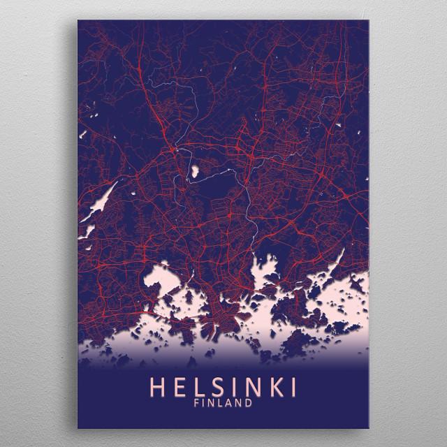 Helsinki Finland City Map metal poster