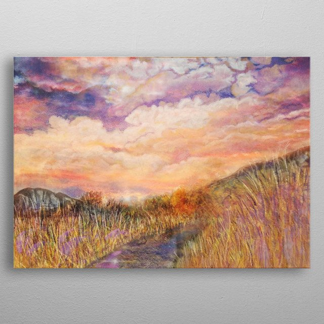 Mixed Media piece depicting a path with tall grass. metal poster