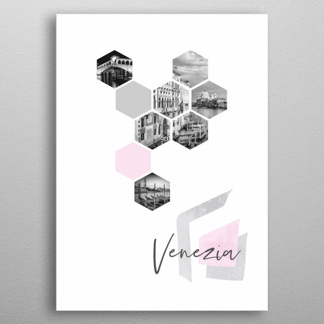 Cityscapes from Venice in geometric shapes showcase perfectly each single moment. Discover Rialto Bridge, Grand Canal, gondolas, Campanile. metal poster
