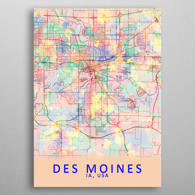 Des Moines IA USA City Map metal poster