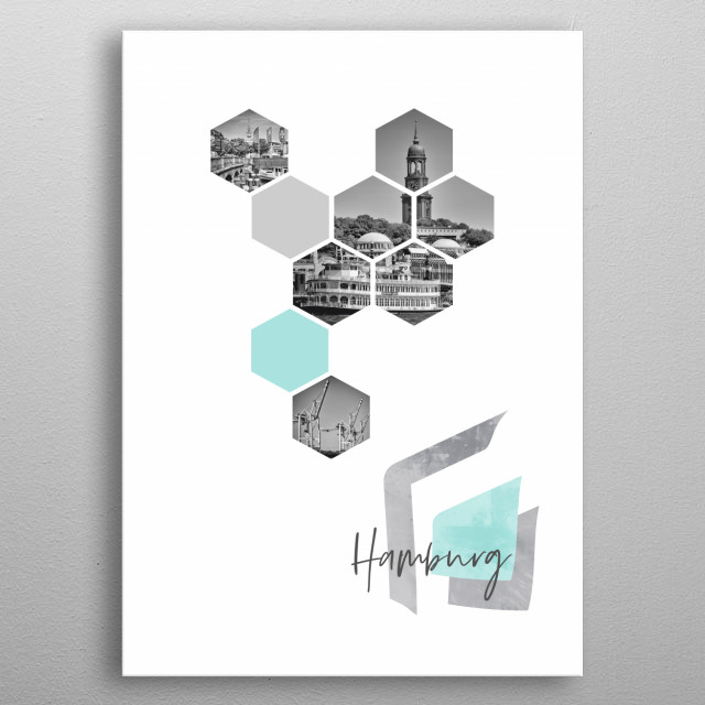 Cityscapes from Hamburg in geometric shapes showcase perfectly each single moment. Discover Jungfernstieg, St. Michael's Church and harbour. metal poster