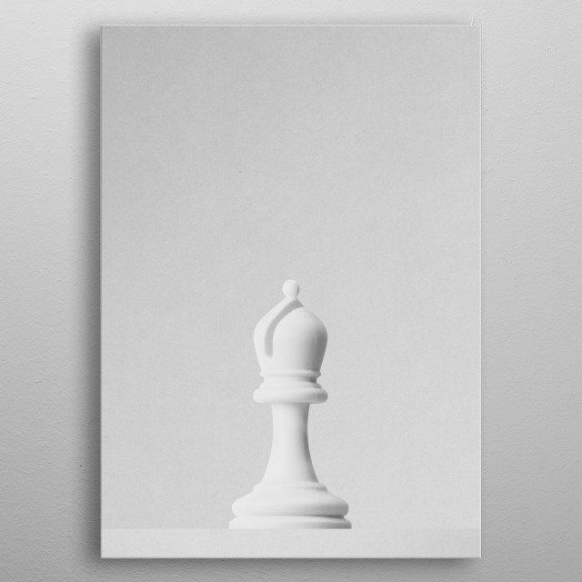 A white bishop a chess game in front of a white background. Part of a series of minimalist photographs of chess pieces. metal poster