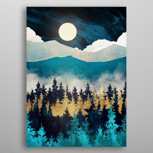 Abstract landscape of evening mist with trees, mountains, blue and gold metal poster