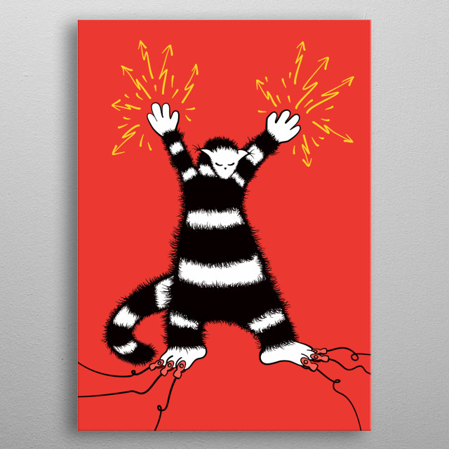 Weird character illustration of a cat like creature which has electrodes snapped on its toes emits electricity through its hands. metal poster