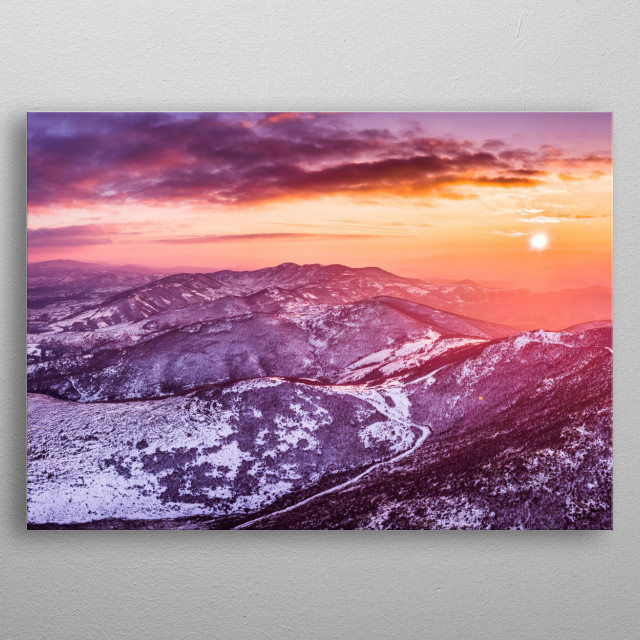 Aerial photography over Rodopi mountain. Please note that this is a part I of two part design. metal poster