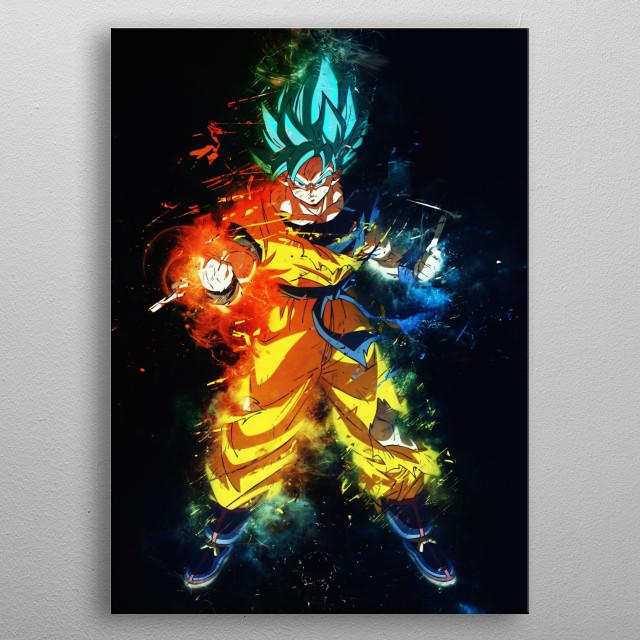 Goku super saiyan Blue kaioken ssb Dragonball metal poster