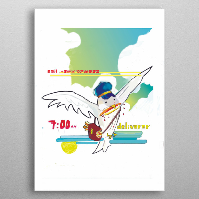 A post officer bird that throws Hot Dogs for work , sometimes he fell tired because his strange daily routine and so he bites one Hot Dog.   metal poster