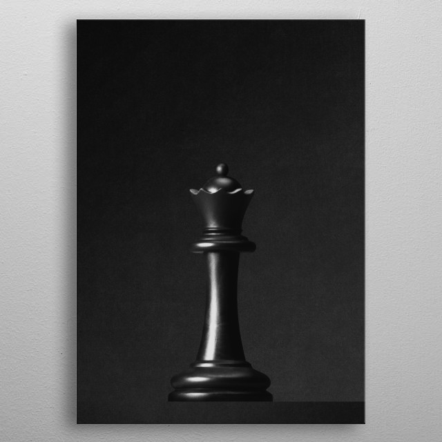 A black queen a chess game in front of a black background. Part of a series of minimalist photographs of chess pieces. metal poster