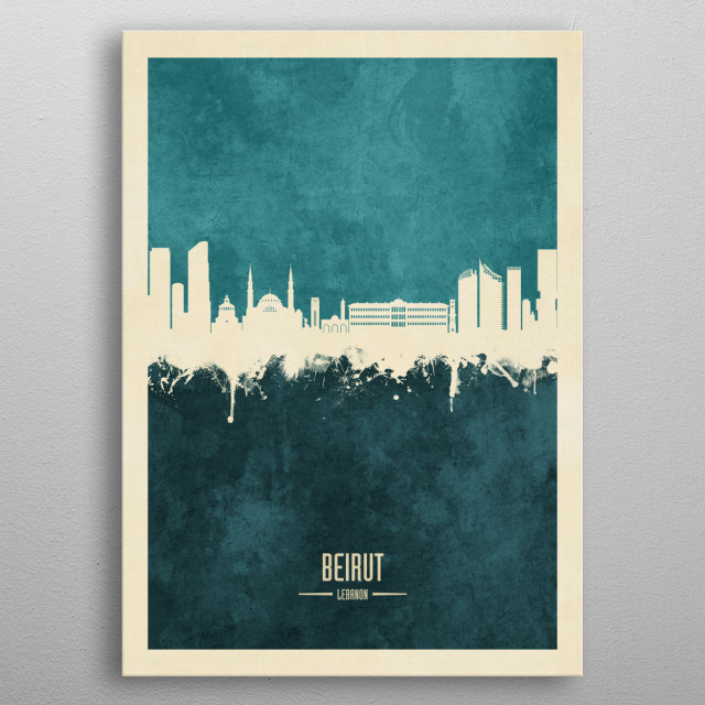 Watercolor art print of the skyline of Beirut, Lebanon metal poster
