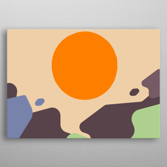 Abstract Sunset Landscape  - Perfect beach house decor or wall art present for friends and family! metal poster