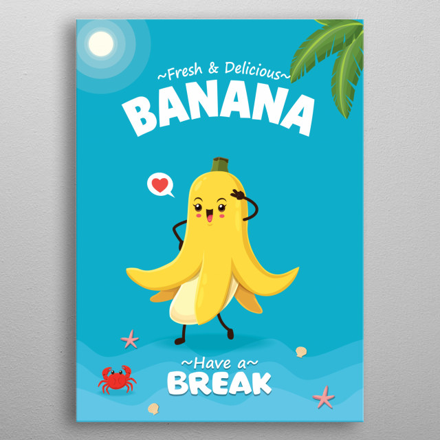 Vintage summer poster design with vector banana character.  metal poster