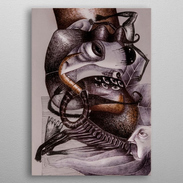 illustration of creatures you would rather find at the circus . Artist : Bocaniciu Otilia  metal poster