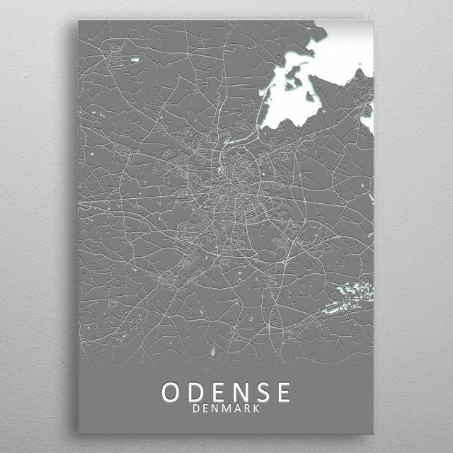 Odense Denmark City Map metal poster