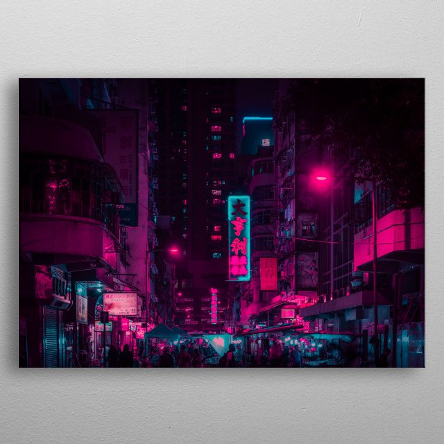 Cyberpunk Hong Kong  very Colorful  metal poster