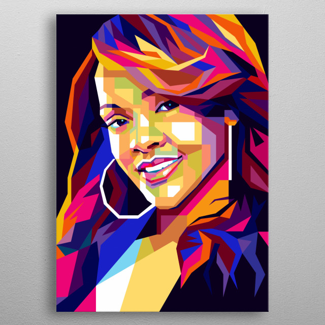 Illustration Colorful Rihanna with Pop Art Portrait Modern Style  metal poster