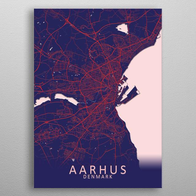 Aarhus Denmark City Map metal poster