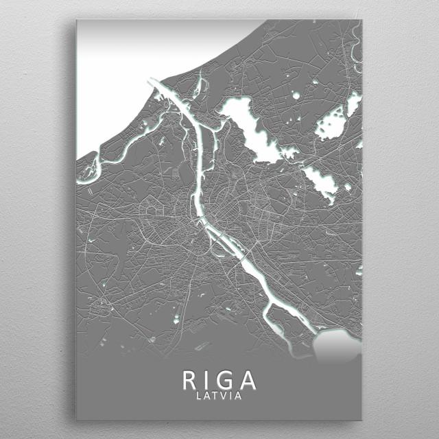 Riga Latvia City Map metal poster