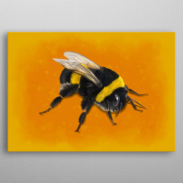 Digital painting of a fuzzy bumblebee on a bright background, created in honour of these precious creatures. Save the bees! metal poster