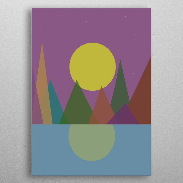 Illustration of full moon, sea and mountains metal poster