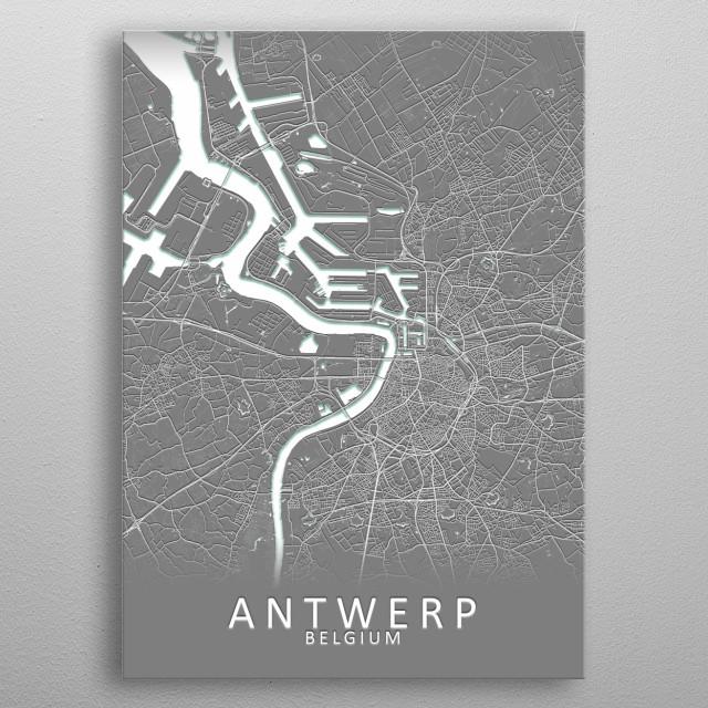 Antwerp Belgium City Map metal poster