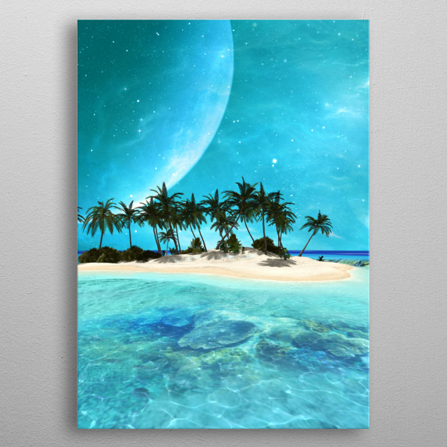 Wonderful tropical island with moon metal poster