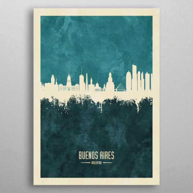 Watercolor art print of the skyline of Buenos Aires, Argentina metal poster