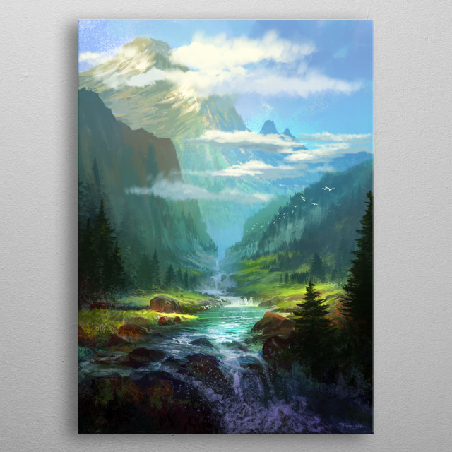 I love landscape so i paint the place that i want to go. metal poster