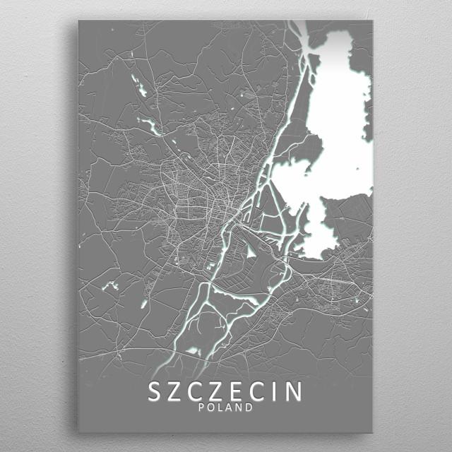 Szczecin Poland City Map metal poster