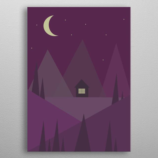 Purple night in the mountain metal poster