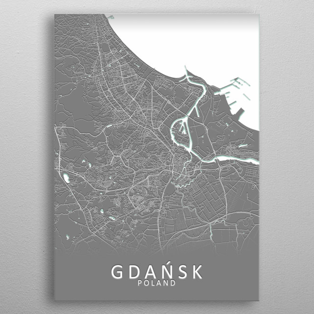 Gdansk Poland City Map metal poster