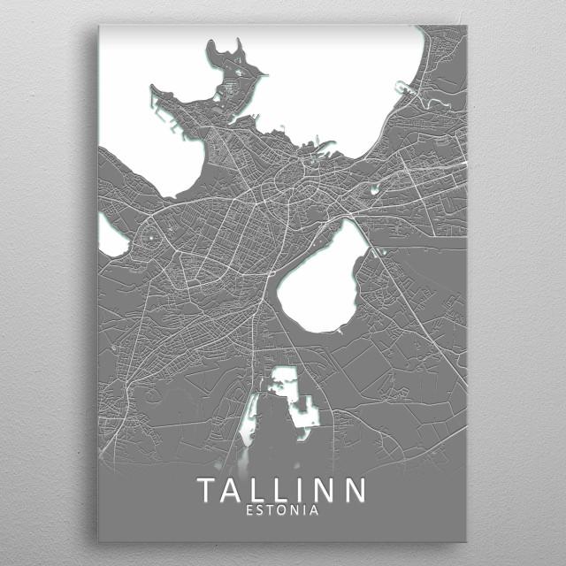 Tallinn Estonia City Map metal poster
