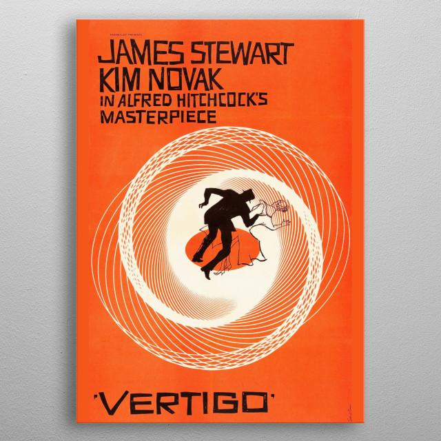 The orange movie poster for Alfred Hitchcock's Vertigo. metal poster
