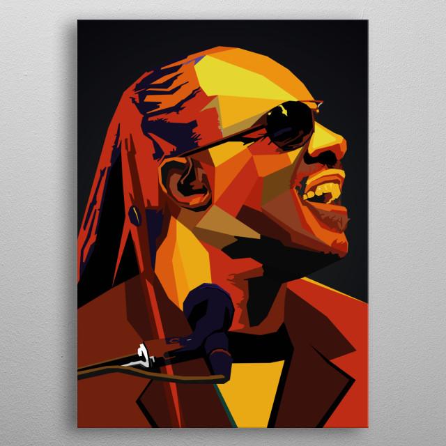 Stevie Wonder Wpap Popart singer musician artist  metal poster