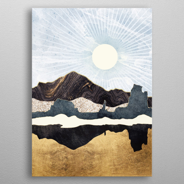 Abstract depiction of a desert scene with gold, blue and yellow metal poster