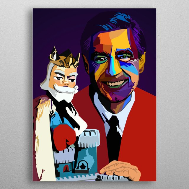 reator, composer, producer, head writer, showrunner Fred Rogers Wpap Popart metal poster