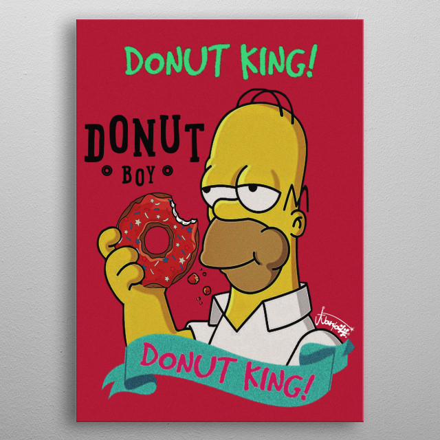 illustration type card art collectable,cool character homer simpson-from the tv series,the simpson design based in my love for the donut's. metal poster