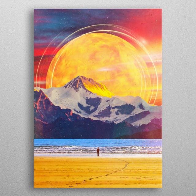 surreal digital scifi landscape collage  metal poster