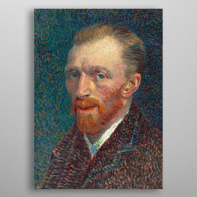 Surely the deeply troubled and ill Vincent Van Gogh had some good days that allowed him happiness, so I sweetened up his sour self-portrait. metal poster