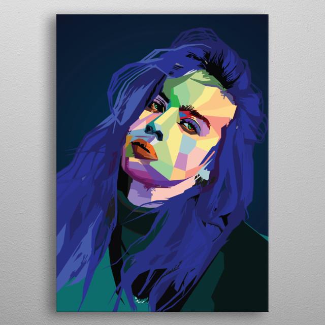 Billie Elish Wpap popart singer artist  metal poster