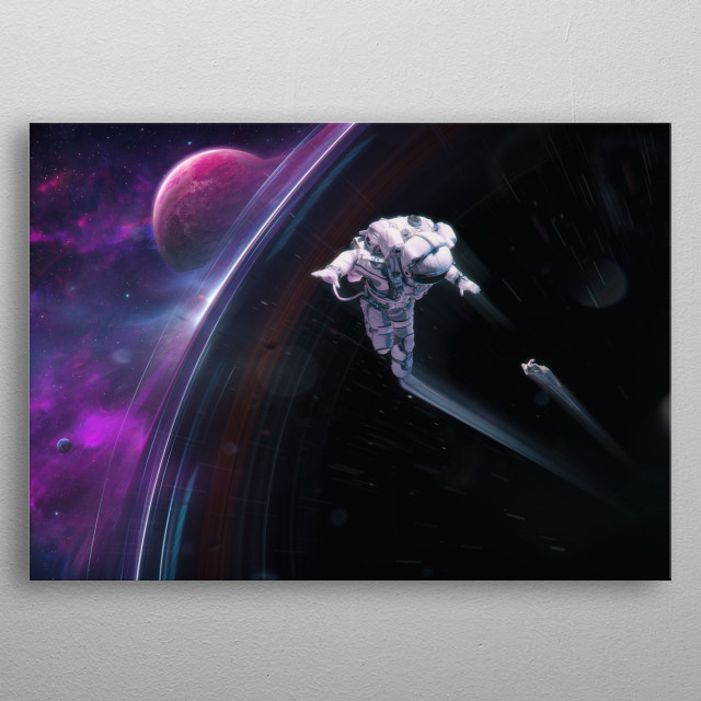 Two astronauts being dragged into a black hole. Science fiction themed artwork. metal poster