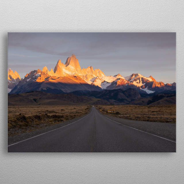 Road towards El Chalten town in Argentinian Patagonia with Fitz Roy in the distance. metal poster