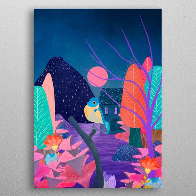 digital painting, garden nature metal poster