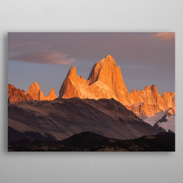 One of the best known peaks in South America - Fitz Roy in Argentina.  metal poster